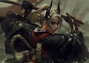 Wallpaper, Original, Characters, Anime, Girls, 2d, Guweiz, Z, W, Gu, Digital, Art, Samurai, Female