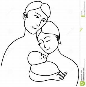 Family line drawing stock vector. Illustration of female ...