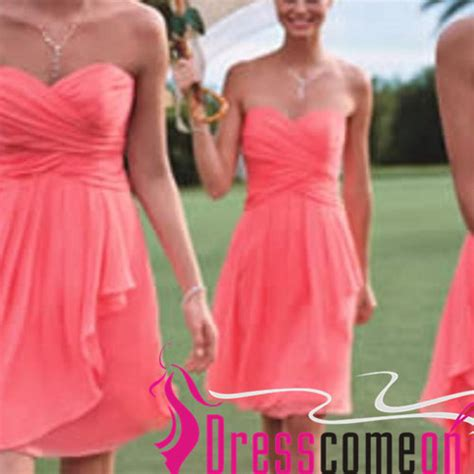 coral color dresses coral bridesmaid dresses a line crinkle chiffon with