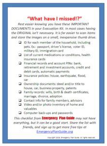 missed evacuation kit checklist emergency