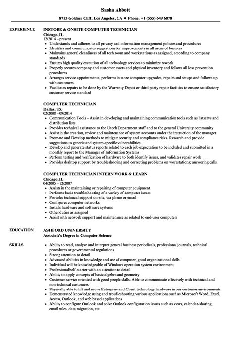 Resume Sle For Computer Technician by 20 Resumes For Computer Technicians Robbiesavage8