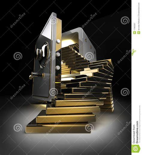 coffre fort ouvert avec des lingots d or photographie stock libre de droits image 17983307