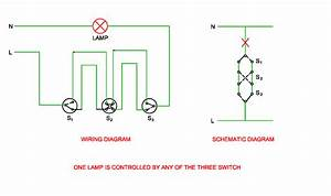 Schematic And Wiring Diagram Of One Lamp Is Controlled By Any Of Three Switches