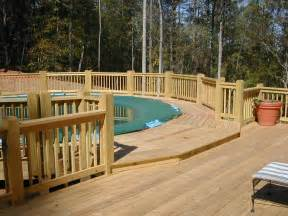 Above Ground Pool Deck Images Big Above Ground Pool Decks With Lounge Wood Deck Fence