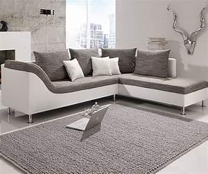 Stoff Für Couch : ecksofa philip wohnlandschaft couch sofa mit ottomane rechts wei stoff grau ebay ~ Markanthonyermac.com Haus und Dekorationen