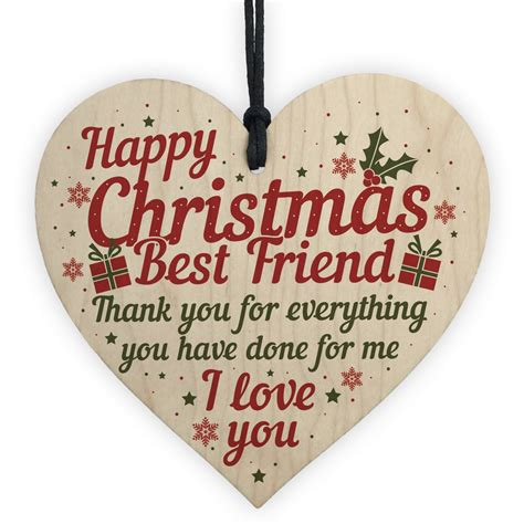Searching for christmas greetings ideas or christmas card sayings? Best Friend Christmas Card Gifts Friendship Friend Wooden Heart