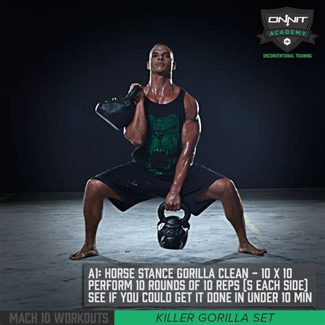 onnit gorilla horse stance clean kettlebell workout mach training body academy equipment exercise fitness gym legs arms weights workouts