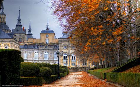 wallpaper city autumn trees building