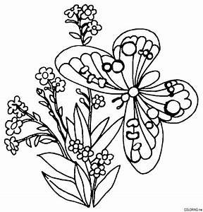 Coloring Pages Flowers Butterflies - Coloring Home