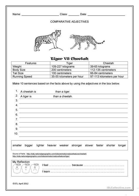 tiger  cheetah worksheet  esl printable worksheets