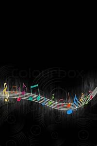 Multicolored Music Notes on Black Background | Stock Photo ...