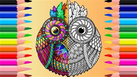 pequeno buho mandala  colorear cute  owl mandala coloring youtube