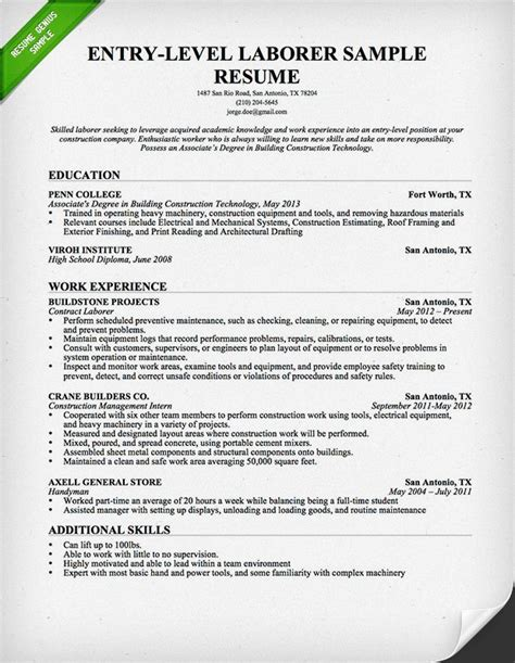 Resume For Construction by Entry Level Construction Worker Resume Templates