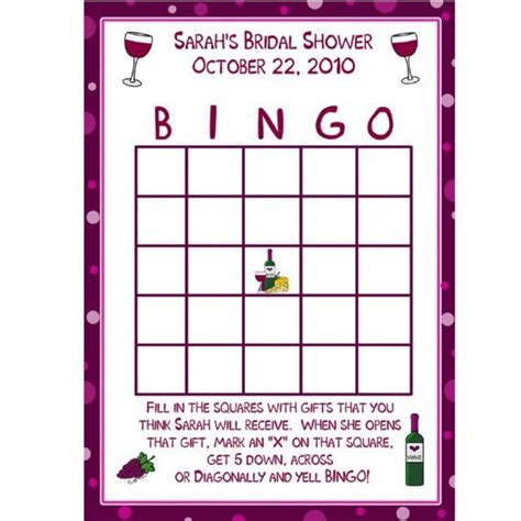 24 personalized bridal shower bingo game cards by