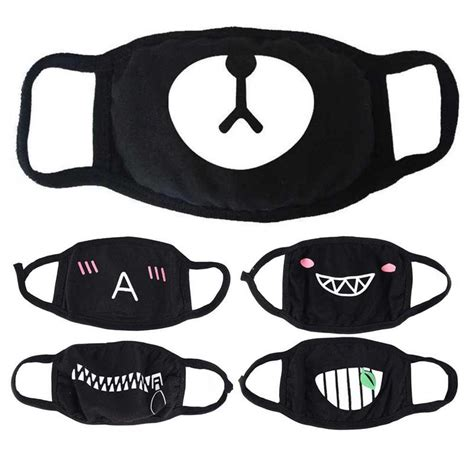 women trendy cotton cute face masks pattern solid black