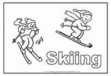 Coloring Skiing Pages Skier Sport Cartoon Colouring Flashcards Number Comments Coloringhome Popular Template sketch template