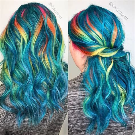 25 Best Ideas About Rainbow Hair Highlights On Pinterest