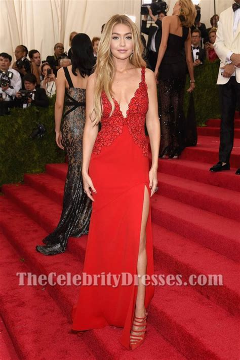 Gigi Hadid Red Deep V-Neckline Sexy Lace Evening Prom ...