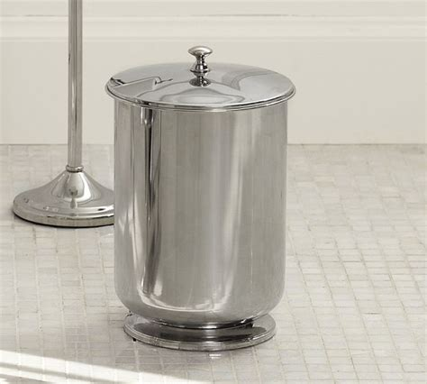 chrome bathroom trash can with lid mercer lidded trash can contemporary wastebaskets