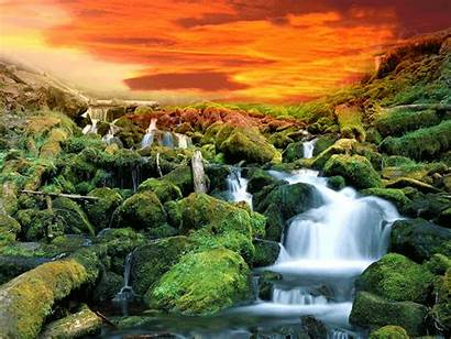 Waterfall Nature Animated Desktop Wallpapers Backgrounds Mountain