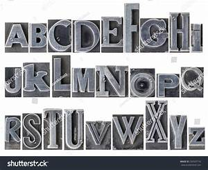 english alphabet collage 26 isolated letters stock photo With metal letterpress letters