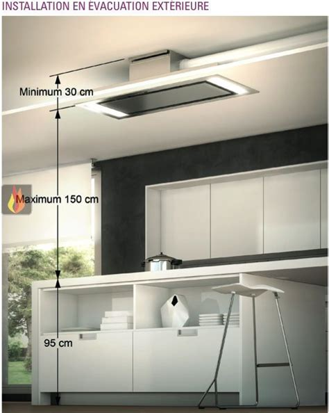 hotte cuisine hotte de plafond avec éclairage par leds de 140cm de largeur roblin ec rob406 mon espace cuisson