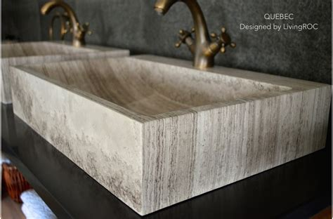brown marble bathroom stone sink faucet hole quebec