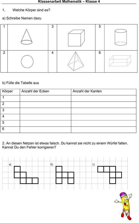 klassenarbeit zu koerper und volumen schule math