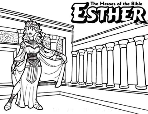 queen esther  bible heroes coloring page netart