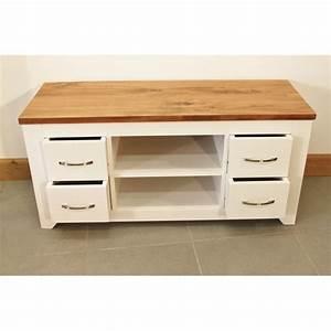 Meuble Tele Bas : meuble de t l bas en bois laqu blanc 4 tiroirs ~ Teatrodelosmanantiales.com Idées de Décoration
