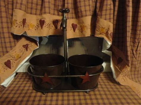 Primitive Country Metal Faucet Stand With Buckets Bathroom