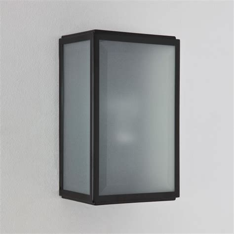 astro homefield black outdoor wall light with frosted