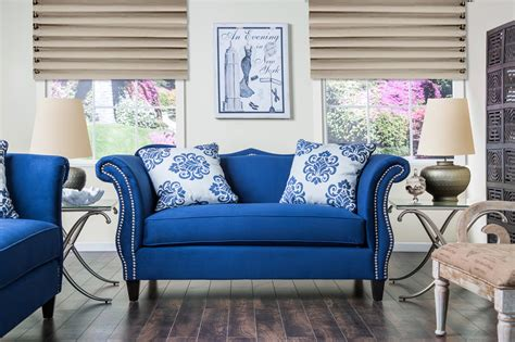 furniture  america royal blue anita sweetheart sofa