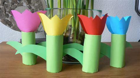 bloemen maken van wc rollen lente knutselen thema schattige krokusjes van wc rol