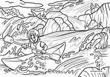 Coloring Kayak Rapids sketch template
