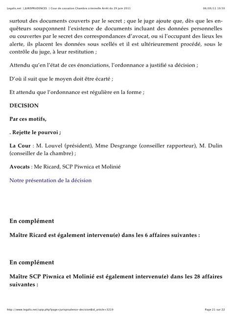 cour de cassation chambre criminelle cour de cassation chambre criminelle arrêt du 29 juin 2011