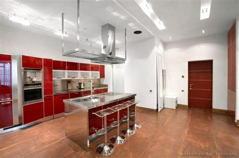 Pictures Of Kitchens-modern-red Kitchen Cabinets