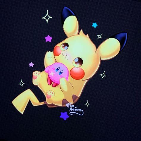 Finished Drawing A Pikachu Holding A Kirby Plush