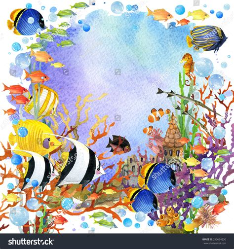 underwater world coral reef fish watercolor illustration