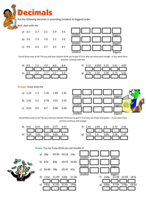 ordering decimals worksheet by floppityboppit teaching