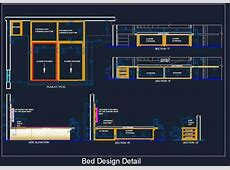 Double Bed Detail with Sliding Storage Plan n Design