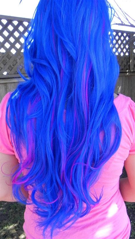 20 Off Sale Blue And Neon Violet Long Curly Layered Wig