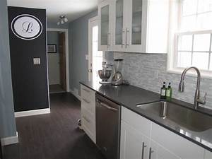 ikea adel white cabinets caesarstone countertops in raven With kitchen colors with white cabinets with diesel sticker