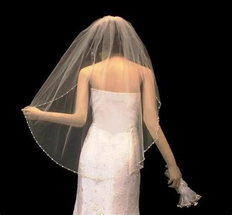 Beaded Fingertip Length Wedding Veil With Pearls And