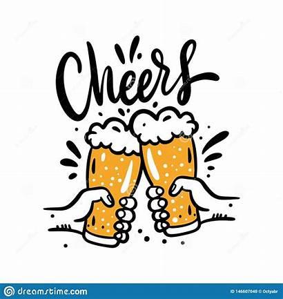 Cheers Beer Glasses Mug Cartoon Drawn Phrase
