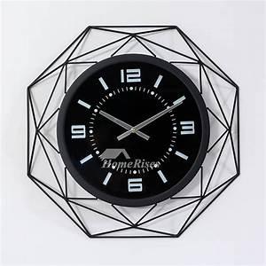 Oversized 20 Inch Cool Clocks Unique Metal Glass Black ...