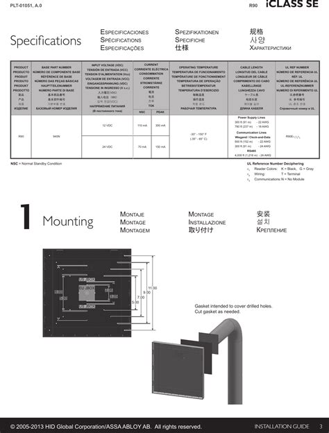 iclassr90e iclass se r90 reader user manual iclass dfm rev c universal installation guide hid