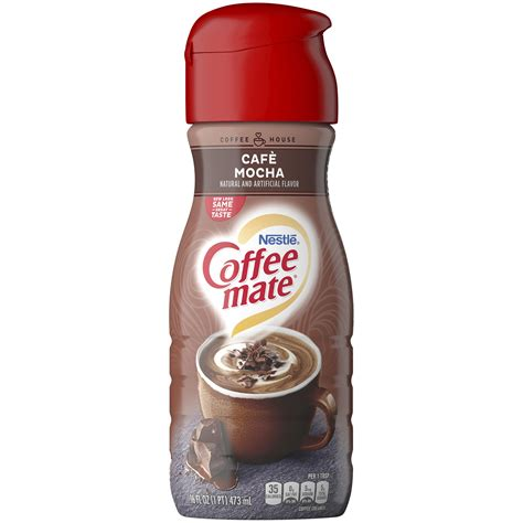 Only coffee mate® gives you so many formats and flavors to meet your unique operational needs. COFFEE MATE Caf Mocha Liquid Coffee Creamer 16 Fl. Oz. Bottle Non-Dairy Lactose-Free Cholesterol ...