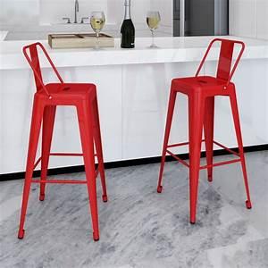 Chaise De Bar Rouge : 2 tabourets avec dossier chaise de bar haute mobilier de bar blanc noir rouge ebay ~ Teatrodelosmanantiales.com Idées de Décoration