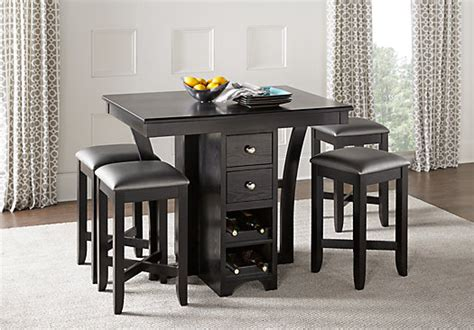 Rooms To Go Dining Tables - ellwood black 5 pc bar height dining set casual